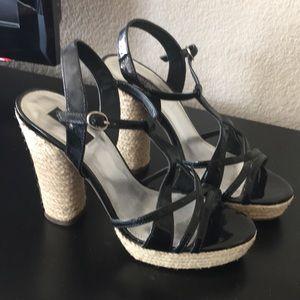 Espadrille black patent leather platform sandals